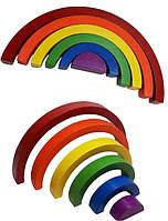 Дерев'яна Пірамідка Hega ВЕСЕЛКА 6 кольорів збірна головоломка пазл конструктор для дітей (062)