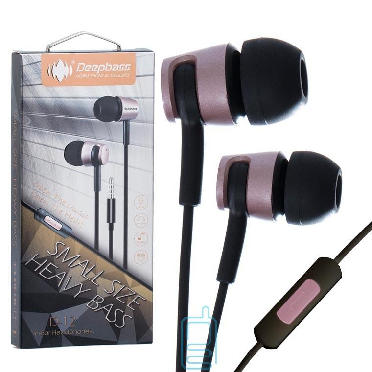 Наушники с микрофоном Deepbass D-12 розовые