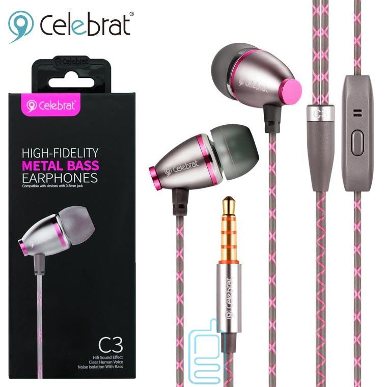 Наушники с микрофоном Celebrat C3 розовые