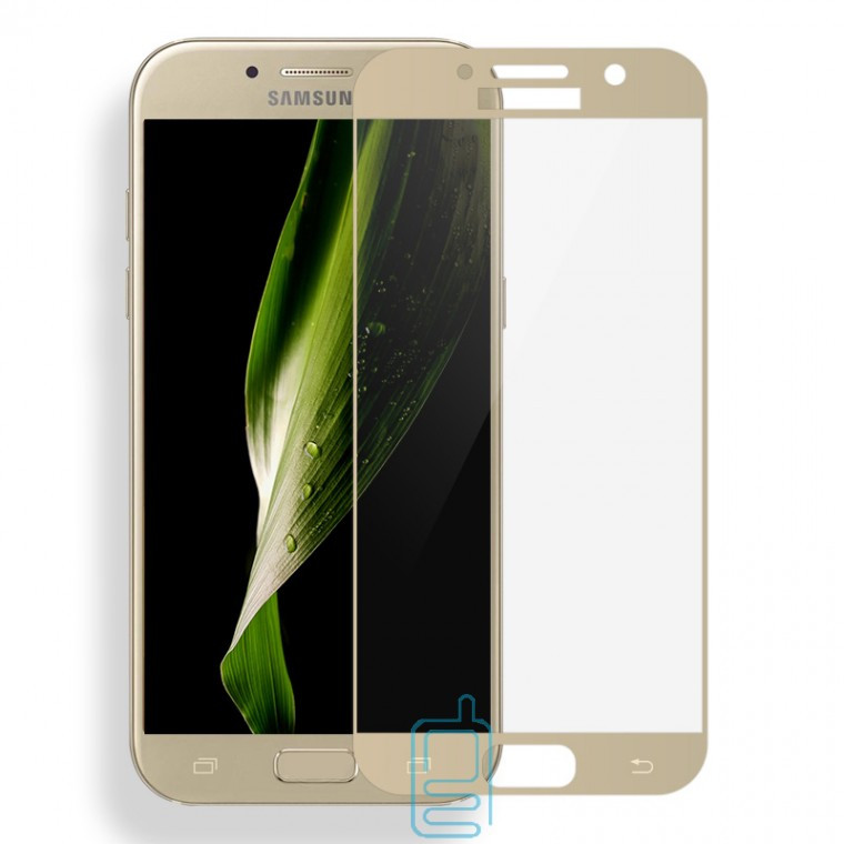 Защитное стекло 3D Samsung A3 2017 A320 gold тех.пакет