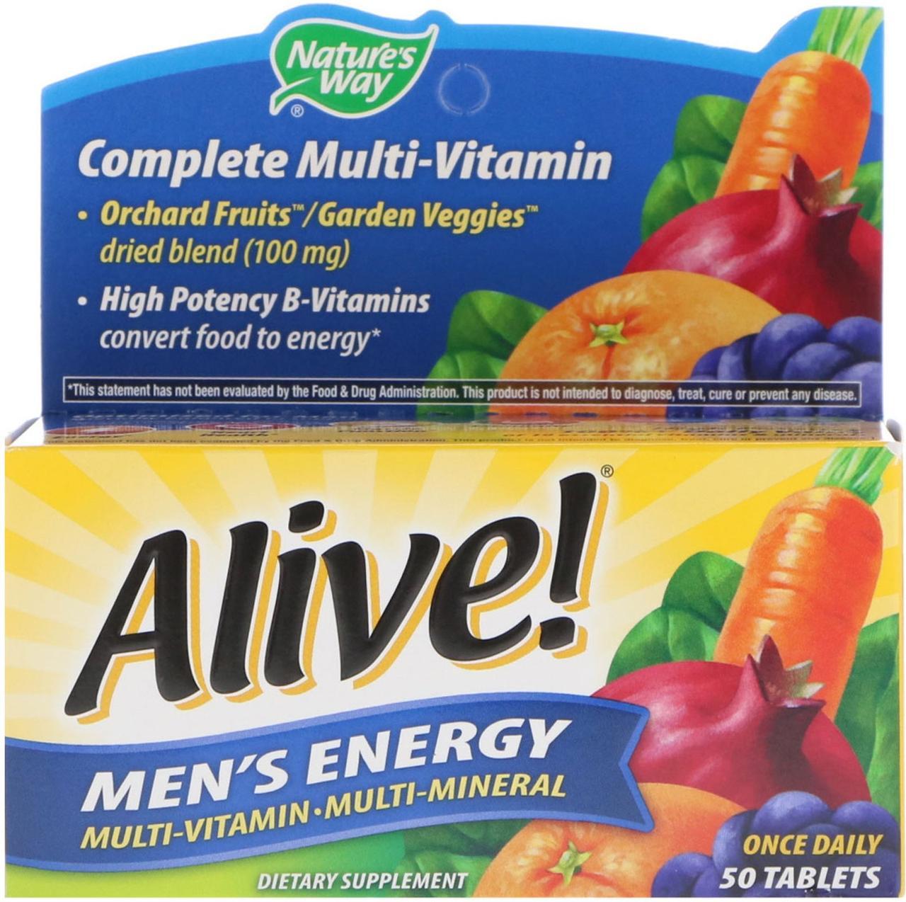 Nature's Way, Alive!, Поливитаминный комлпекс для мужчин · мультиминералы, 50 таблеток