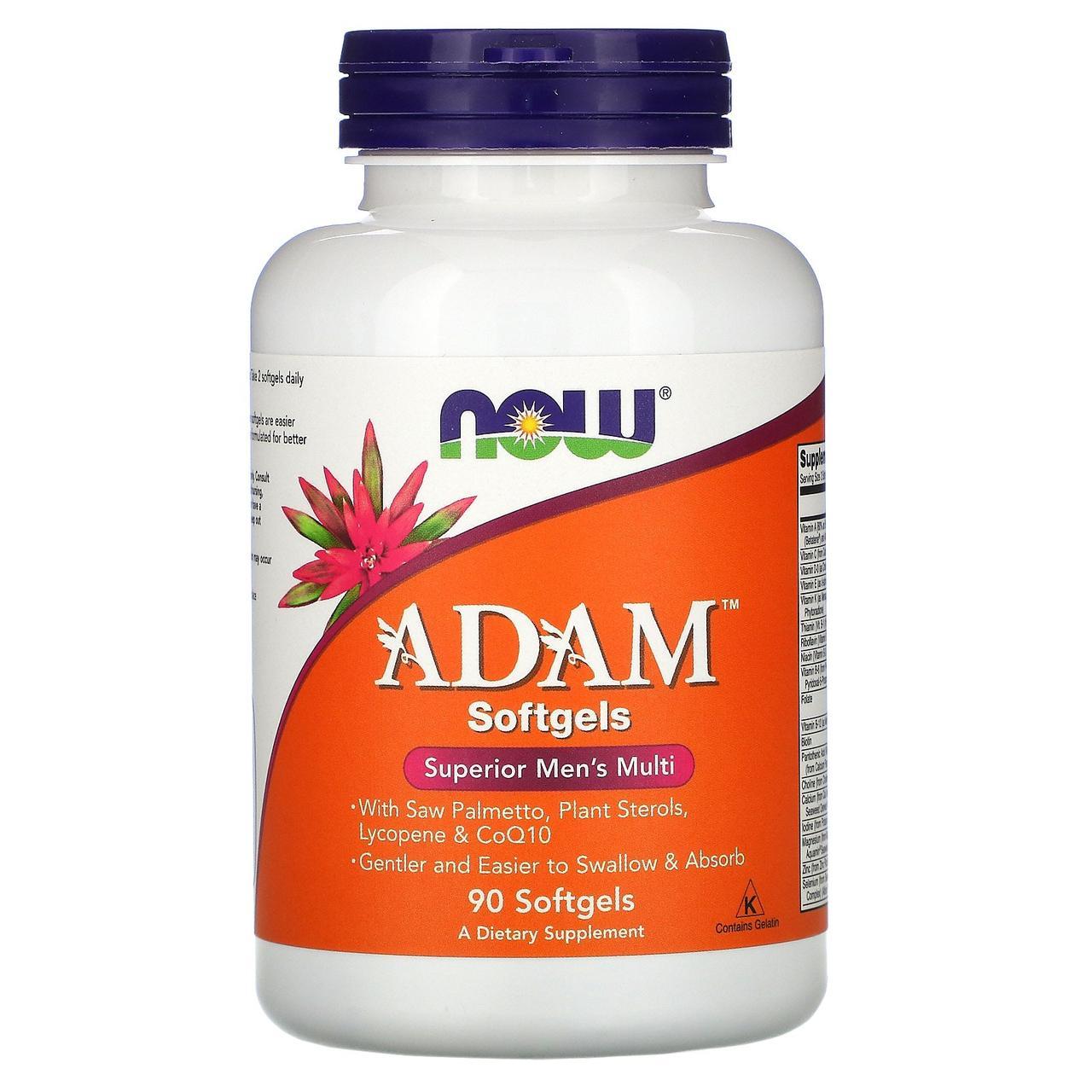 Now Foods, Adam, высококачественный мультивитаминный комплекс для мужчин, 90 мягких капсул