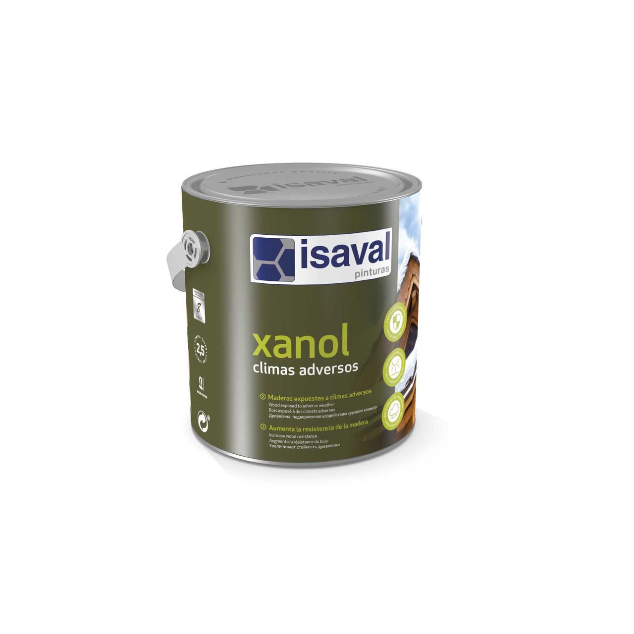 Защитная лазурь для дерева на водной основе Ксанол для сурового климата ISAVAL прозрачная 0,75л≈9м²/слой