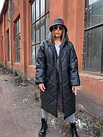 """Женское пальто тулуп """"ВАУ"""" из эко-кожи (беж, пудра, табак, черный, 42, 44, 46, 48, 50,52,54,56 размер), фото 1"""