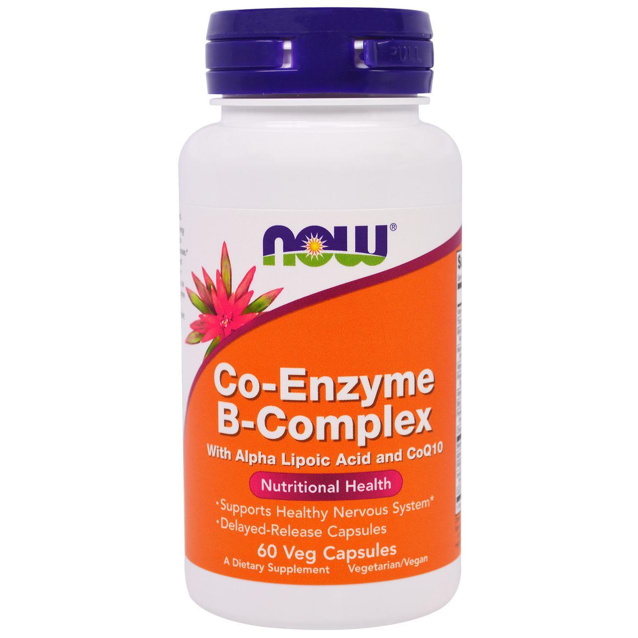 Комплекс витаминов В Now Foods, с коэнзимами, 60 капсул