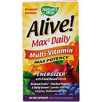 Nature's Way, Живой! Мультивитамины Max6 для ежедневного приема, 90 растительных капсул, фото 1