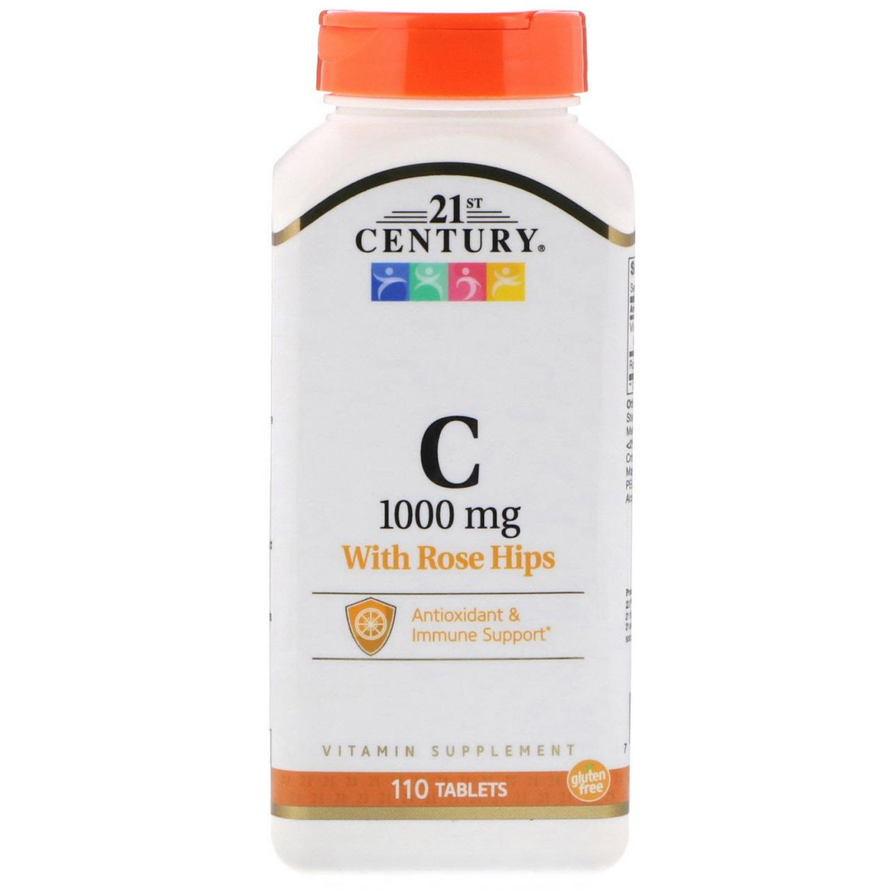 Витамин C с плодами шиповника, 1000 мг, 21st Century (США), 110 таблеток