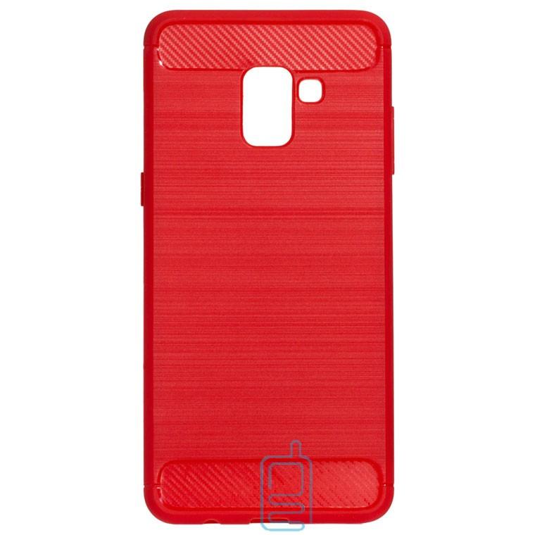 Чехол силиконовый Polished Carbon Samsung A8 2018 A530 красный