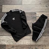 Спортивный костюм мужской зимний Adidas NEO черный   Комплект мужской Свитшот + Штаны Адидас   ЛЮКС качества