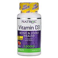 Natrol, Витамин D3, Клубника, 2 000 МЕ, 90 таблеток