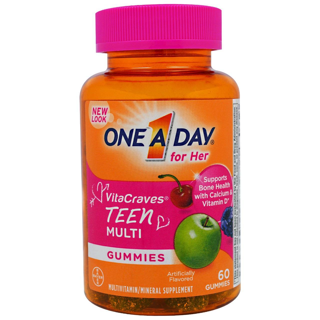 Ежедневный мультивитаминный комплекс One-A-Day, для девочек-тинэйджеров, 60 жевательных пастилок