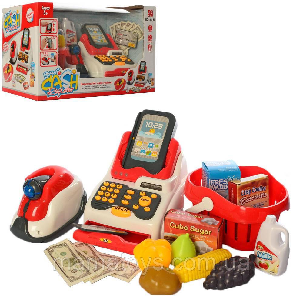 Детская игровая касса 668-51 Магазинчик, Световые и Звуковые эффекты, Сканер, корзинка с продуктами