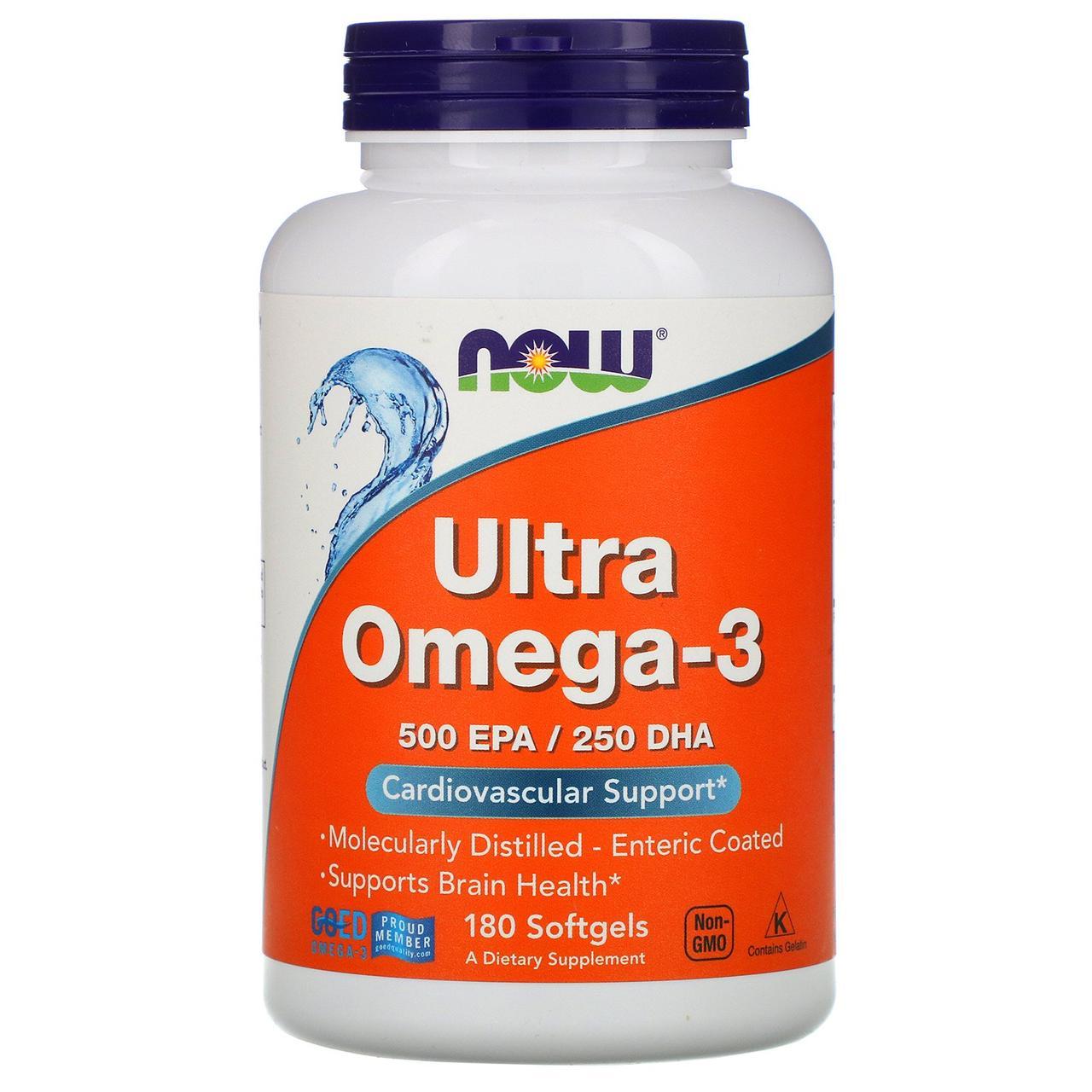 Ультра омега 3 Now Foods, 500 ЭПК/250 ДГК, 180 мягких таблеток