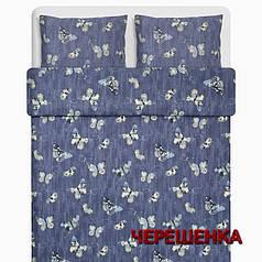 """Ткань для постельного белья Бязь """"Gold"""" Lux GL3932 (50м) синяя с бабочками"""