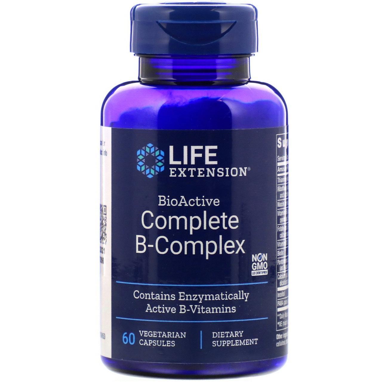 Комплекс витаминов группы B Life Extension, BioActive Complete B-Complex, 60 вегетарианских капсул