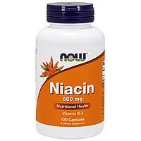 Витамин В-3 Ниацин 500 мг Now Foods, 100 капсул, фото 1