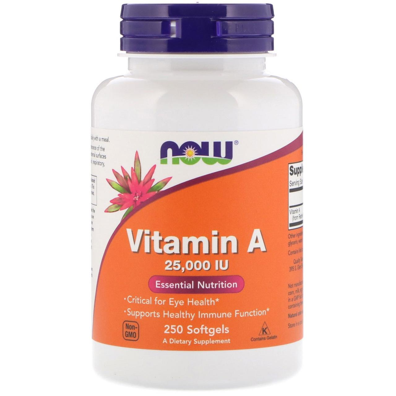 Витамин A 25 000 МЕ Now Foods, 250 мягких таблеток