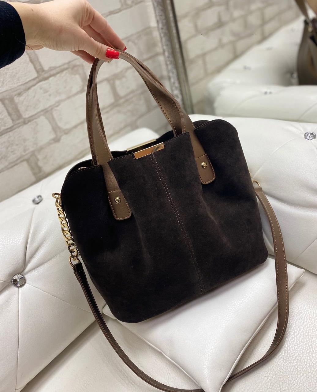 Коричневая замшевая женская сумка вместительная шоппер сумочка натуральная замша+экокожа