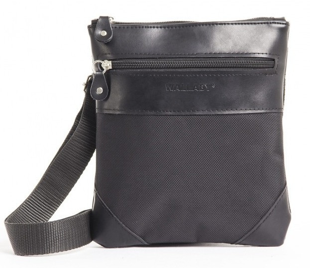 Мужская сумка через плечо тканевая черная Wallaby 1331942879