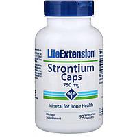 Капсулы из стронция Life Extension, минералы для здоровья костей, 750 мг, 90 растительных капсул