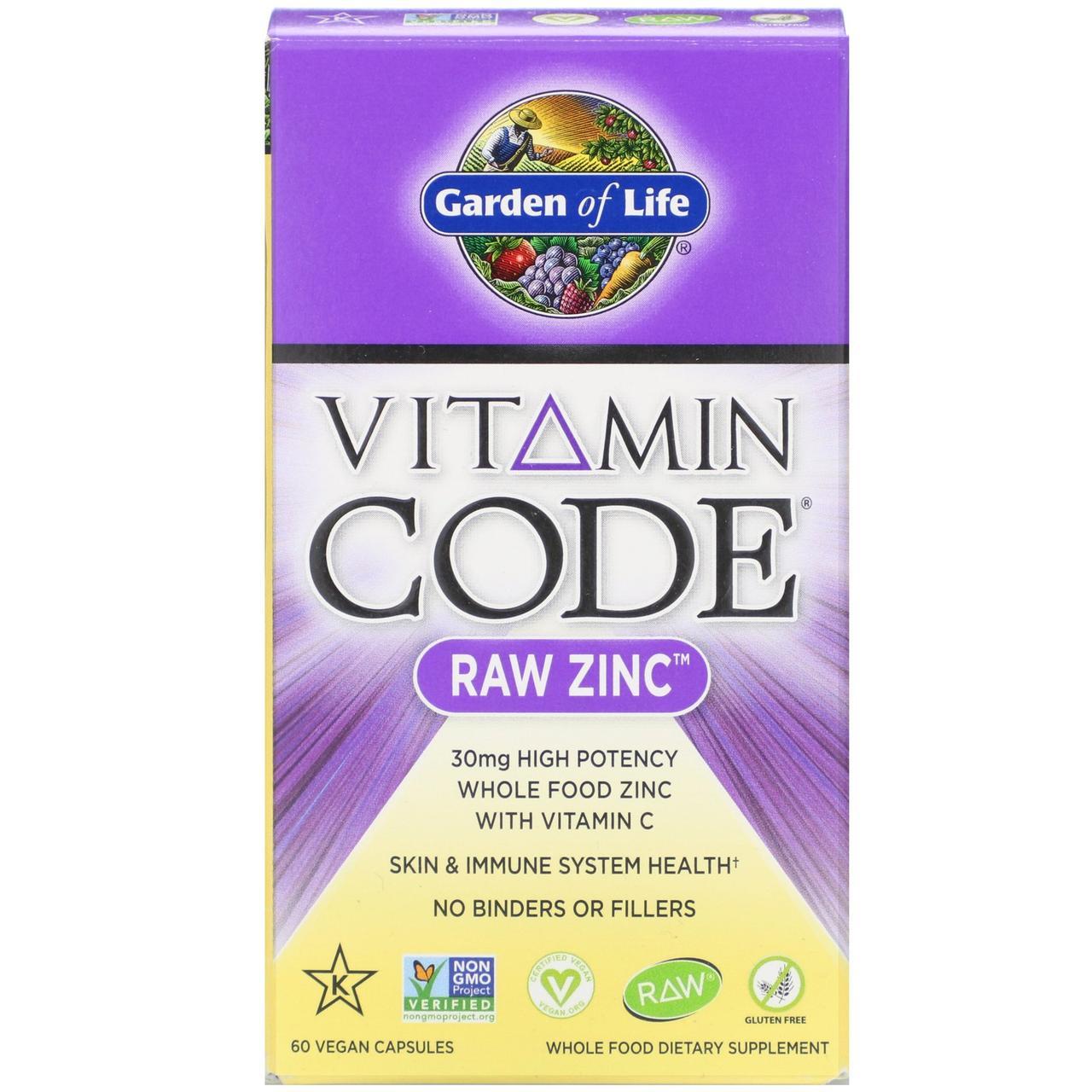Хелатный цинк 30 мг Garden of Life с сырой органической смесью фруктов и овощей, 60 растительных капсул