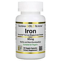 Железо (бисглицинат) California Gold Nutrition, Ferrochel® , 36 мг, 90 вегетарианских капсул