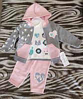 Нарядный  детский  костюм    тройка  для девочки ( 6 ; 9 ; 12  месяцев )