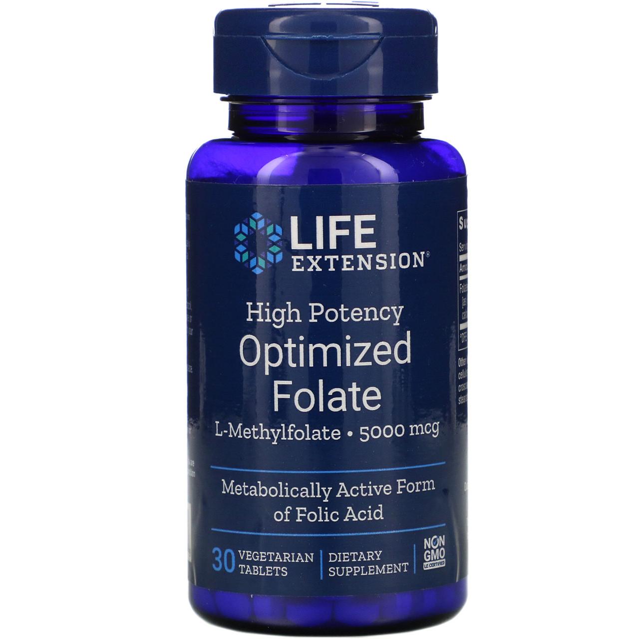 Высокоактивный оптимизированный метил фолат Life Extension, 5000 мкг, 30 вегетарианских таблеток