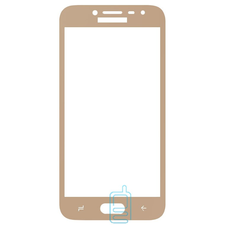 Защитное стекло Full Screen Samsung J2 2018 J250, J2 Pro 2018 gold тех.пакет