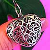 Серебряный кулон Ажурное Сердце - Подвеска большое Сердце серебро 925, фото 5