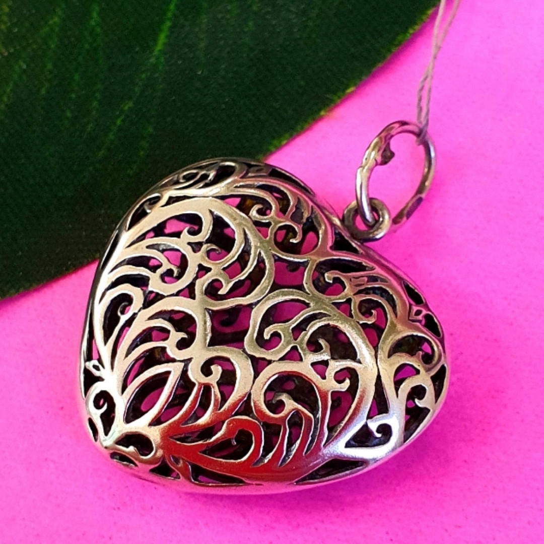 Серебряный кулон Ажурное Сердце - Подвеска большое Сердце серебро 925