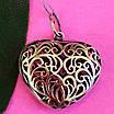 Серебряный кулон Ажурное Сердце - Подвеска большое Сердце серебро 925, фото 3