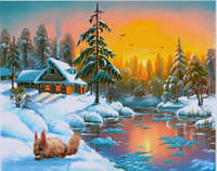 Картина раскраска живопись рисование по номерам на холсте Белочка зимой 30*40 см