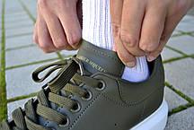 Кроссовки мужские Alexander Mcquen Leather Green Александр Маквин Реплика, фото 3