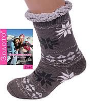 Женские коричневые домашние полушерстяные тапочки-носки, фото 1
