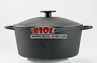 Кастрюля чугунная 3 л с чугунной крышкой БИОЛ 0803. Чугунная посуда Биол