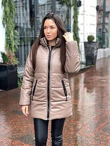 Р. 42-46 Женская куртка из экокожи цвета мокко с утеплителем тинсулейт 250