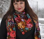 Майя 372-24, павлопосадский платок (шаль) из уплотненной шерсти с шелковой вязаной бахромой, фото 4