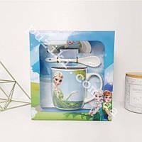 Набор керамический чашка с крышкой и ложка Анна и Эльза