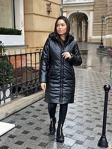 Р. 42-46 Женская черная куртка из экокожи длиной до колен с утеплителем тинсулейт 250