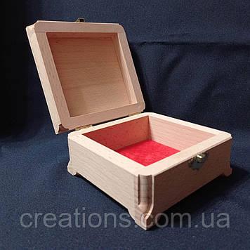Дерев'яна заготовка для декупажу скринька 12х12х7 см з оксамитом