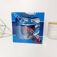 Набор детский керамический ложка и чашка Человек-Паук