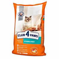 Сухой корм  для кастрированных котов и стерилизованных кошек,Клуб 4 лапы Sterilised 14кг