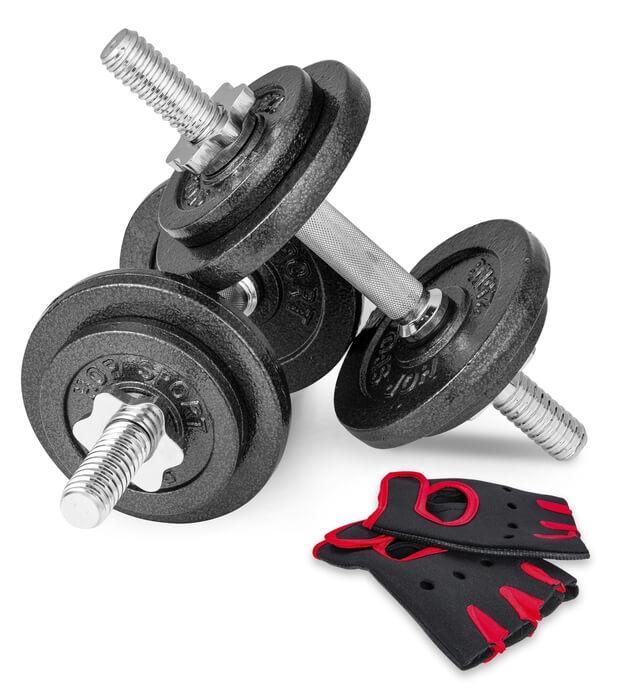 Гантелі складальні металеві Hop-Sport New 2 шт по 15 кг з рукавичками