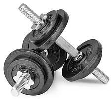 Гантелі складальні металеві Hop-Sport New 2 шт по 15 кг з рукавичками, фото 2