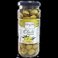 Оливки зеленые без косточки Oliwki zielone Helcom   345 г, фото 1