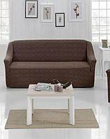 Чехол на диван Жакард Evibu Турция 50268 коричневый