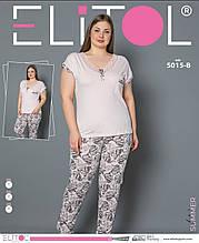 Піжама жіноча великих розмірів з довгими штанами, ELITOL