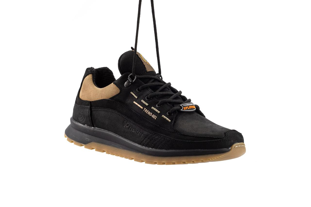 Мужские кроссовки кожаные весна/осень черные Splinter Trend 1219