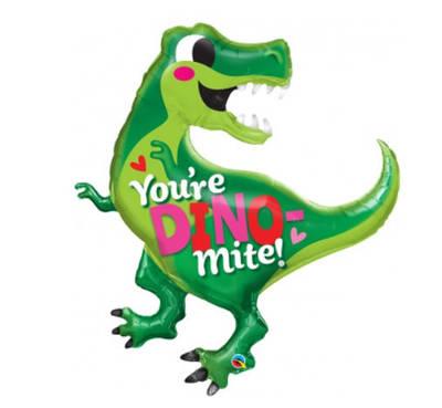 """Q 36"""" You're Dino-Mite Foil Balloon - Pkg . Шар воздушный фольгированный Динозавр"""